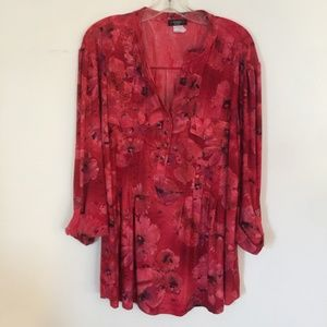 Red Black Floral Women's Blouse with Pleats